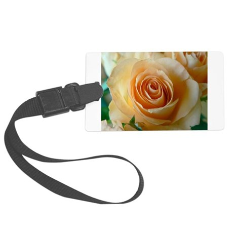 Apricot Colored Rose Large Luggage Tag