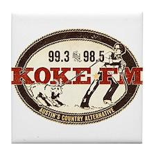 KOKE FM logo Tile Coaster