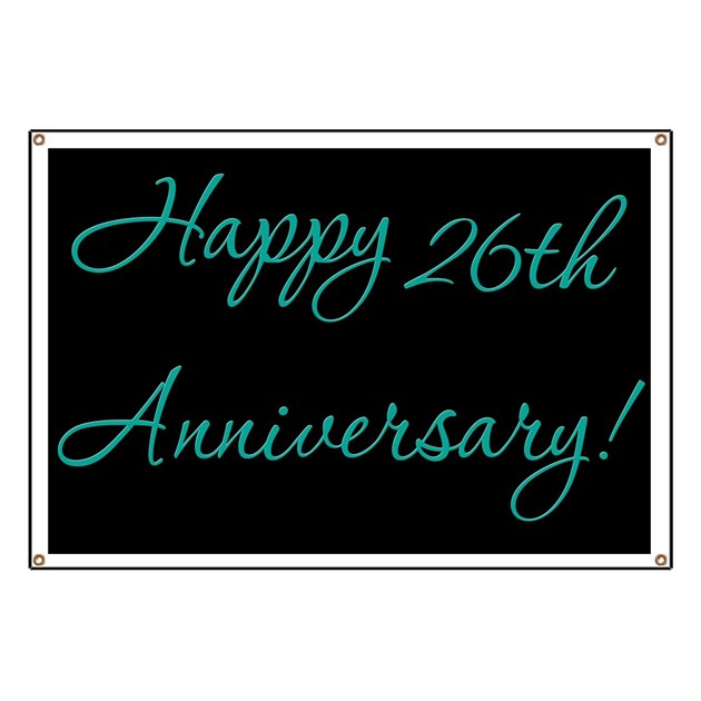 Happy 26th Anniversary Banner Banner By Retroculture