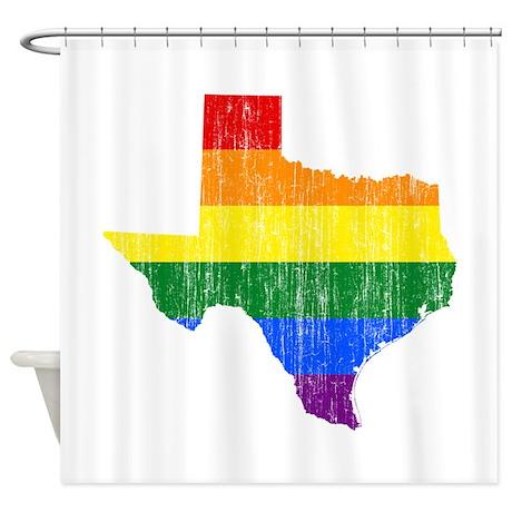 Texas Rainbow Pride Flag And Map Shower Curtain By Rainbowprideflagandmapaged