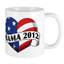 Obama 2012 Stars and Stripes Heart Banner Mug
