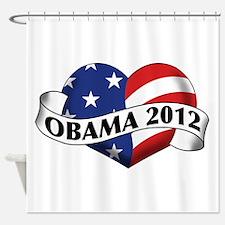 Obama 2012 Stars and Stripes Heart Banner Shower C