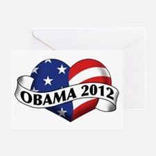 Obama 2012 Stars and Stripes Heart Banner Greeting
