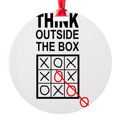 Think Outside the Box Round Ornament