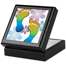 Rainbow Retro Footprints Keepsake Box