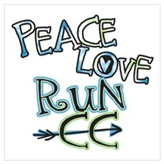 Peace Love Run CC - Cross Country Poster And Wall Framed Print