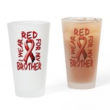 I Wear Red for my Brother Drinking Glass