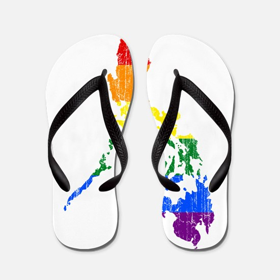 Philippines Rainbow Pride Flag And Map Flip Flops