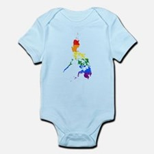 Philippines Rainbow Pride Flag And Map Infant Body