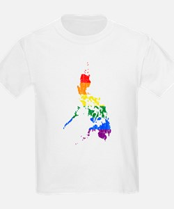 Philippines Rainbow Pride Flag And Map T-Shirt