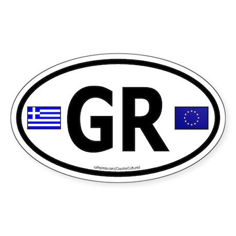 Greek Euro Oval Sticker