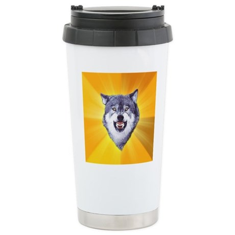 Courage Wolf No Text Stainless Steel Travel Mug