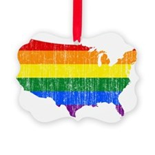 United States Rainbow Pride Flag And Map Ornament