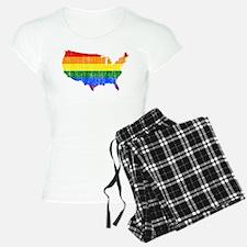 United States Rainbow Pride Flag And Map Pajamas