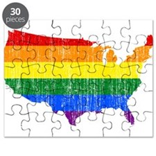 United States Rainbow Pride Flag And Map Puzzle