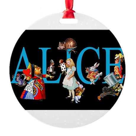 Alice in Black Round Ornament