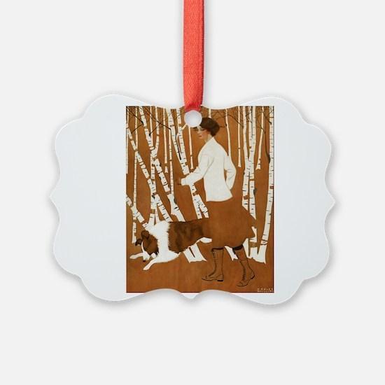THROUGH THE WOODS_CLOCK_BLACKGOLD.png Ornament