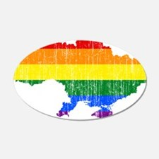 Ukraine Rainbow Pride Flag And Map Wall Decal