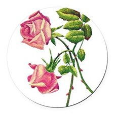 ROSES_Embroidery052 copy.png Round Car Magnet