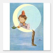 """BOY IN THE MOON Square Car Magnet 3"""" x 3"""""""