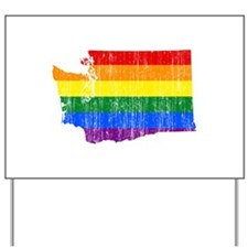 Washington Rainbow Pride Flag And Map Yard Sign