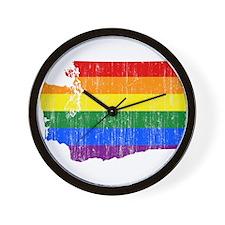 Washington Rainbow Pride Flag And Map Wall Clock