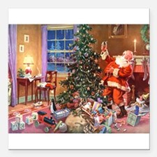 "SANTA CLAUS ON CHRISTMAS Square Car Magnet 3"" x 3"""
