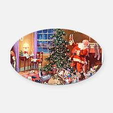 SANTA CLAUS ON CHRISTMAS EVE Oval Car Magnet