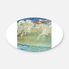 NEPTUNE'S HORSES Oval Car Magnet