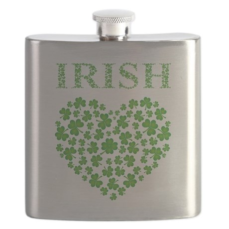 IRISH SHAMROCK HEART Flask