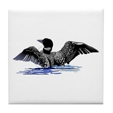 loon on lake Tile Coaster