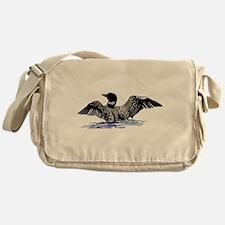 loon on lake Messenger Bag