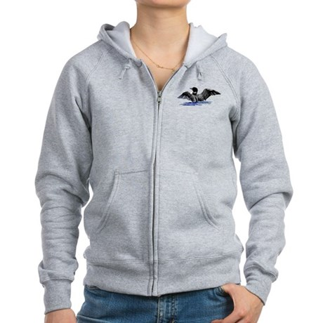 loon on lake Women's Zip Hoodie