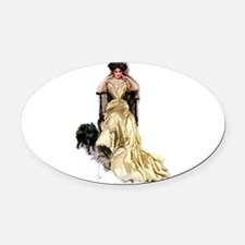 Harrison_Fisher_-_yellow_Satin.png Oval Car Magnet