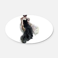 bachelor belles_CAT LADY.png Oval Car Magnet