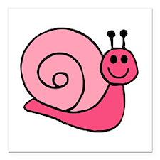 "Pink Snail Square Car Magnet 3"" x 3"""