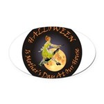 modern witch clock copy.png Oval Car Magnet