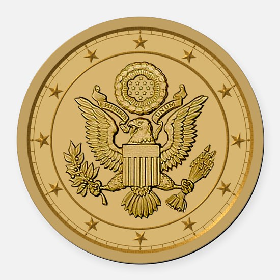 AMERICAN EAGLE_ SOLID_GOLD.png Round Car Magnet