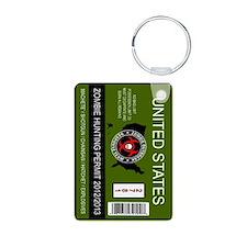 zombie hunting permit keychain Keychains