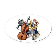 Christmas Musical Cats Oval Car Magnet
