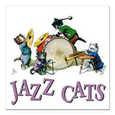 """Jazz Cats Purple.png Square Car Magnet 3"""" x 3"""""""