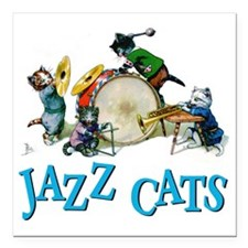 """Jazz Cats Blue.png Square Car Magnet 3"""" x 3"""""""
