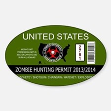 zombie hunting permit oval Sticker (Oval)