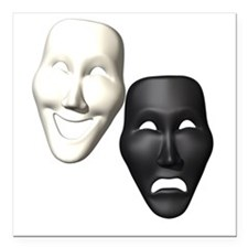"""MASKS OF COMEDY & TRAGEDY Square Car Magnet 3"""" x 3"""