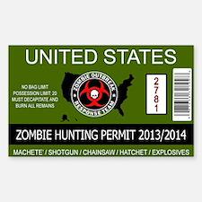 zombie permit rectangle Decal