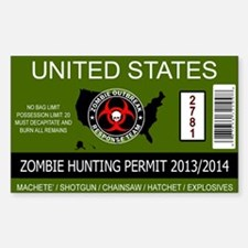 zombie permit rectangle Decal