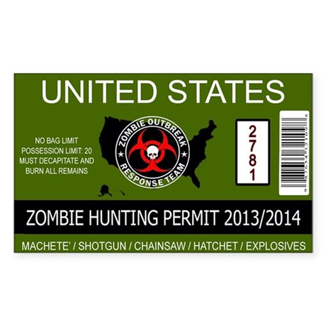 zombie permit rectangle Sticker (Rectangle)