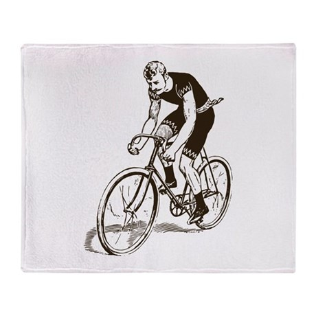 Retro Cyclist Throw Blanket