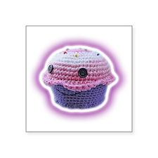"Yarn Cupcake Square Sticker 3"" x 3"""