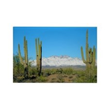 Snowy Four Peaks no Border Rectangle Magnet (10